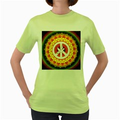Psychedelic Peace Dove Mandala Women s T-shirt (Green)