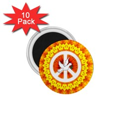 Psychedelic Peace Dove Mandala 1.75  Button Magnet (10 pack)
