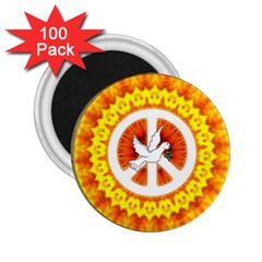 Psychedelic Peace Dove Mandala 2.25  Button Magnet (100 pack)