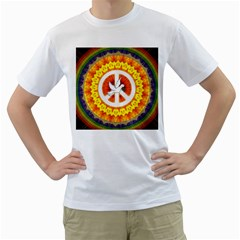 Psychedelic Peace Dove Mandala Men s Two Sided T Shirt (white)