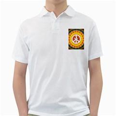 Psychedelic Peace Dove Mandala Men s Polo Shirt (White)