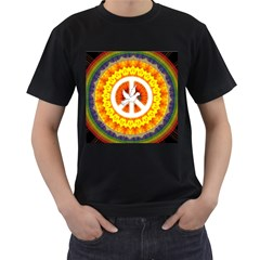 Psychedelic Peace Dove Mandala Men s Two Sided T Shirt (black)