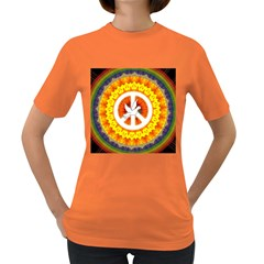 Psychedelic Peace Dove Mandala Women s T Shirt (colored)