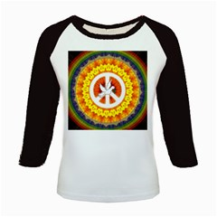 Psychedelic Peace Dove Mandala Kids Long Cap Sleeve T-Shirt