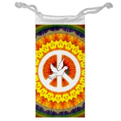 Psychedelic Peace Dove Mandala Jewelry Bag