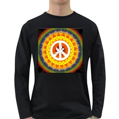 Psychedelic Peace Dove Mandala Men s Long Sleeve T Shirt (dark Colored)