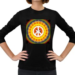 Psychedelic Peace Dove Mandala Women s Long Sleeve T-shirt (Dark Colored)