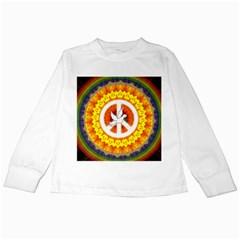 Psychedelic Peace Dove Mandala Kids Long Sleeve T-Shirt
