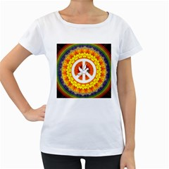 Psychedelic Peace Dove Mandala Women s Loose-Fit T-Shirt (White)