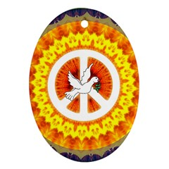Psychedelic Peace Dove Mandala Oval Ornament (two Sides)