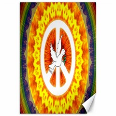 Psychedelic Peace Dove Mandala Canvas 12  X 18  (unframed)