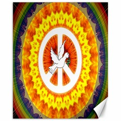 Psychedelic Peace Dove Mandala Canvas 16  X 20  (unframed)