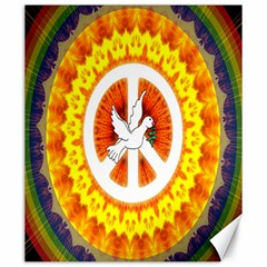 Psychedelic Peace Dove Mandala Canvas 20  x 24  (Unframed)