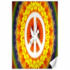 Psychedelic Peace Dove Mandala Canvas 20  X 30  (unframed)