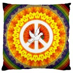 Psychedelic Peace Dove Mandala Large Cushion Case (single Sided)
