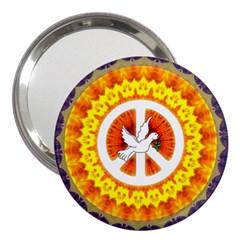 Psychedelic Peace Dove Mandala 3  Handbag Mirror
