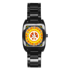 Psychedelic Peace Dove Mandala Stainless Steel Barrel Watch