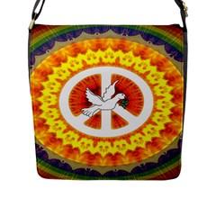 Psychedelic Peace Dove Mandala Flap Closure Messenger Bag (large)
