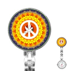 Psychedelic Peace Dove Mandala Stainless Steel Nurses Watch