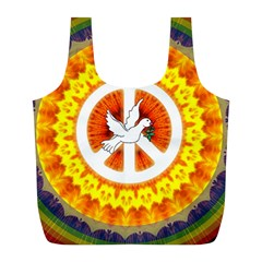 Psychedelic Peace Dove Mandala Reusable Bag (L)