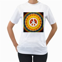 Psychedelic Peace Dove Mandala Women s T Shirt (white)