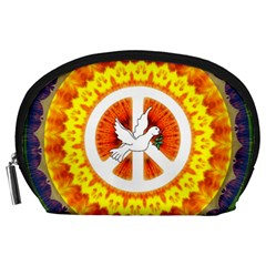 Psychedelic Peace Dove Mandala Accessory Pouch (Large)