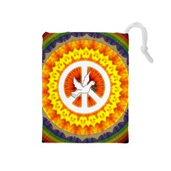 Psychedelic Peace Dove Mandala Drawstring Pouch (medium)
