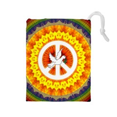 Psychedelic Peace Dove Mandala Drawstring Pouch (Large)