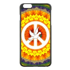 Psychedelic Peace Dove Mandala Apple iPhone 6 Plus Black Enamel Case