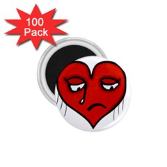 Sad Heart 1 75  Button Magnet (100 Pack)