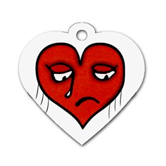 Sad Heart Dog Tag Heart (two Sided)