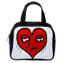 Sad Heart Classic Handbag (one Side)
