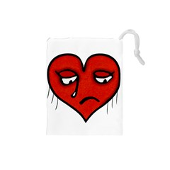 Sad Heart Drawstring Pouch (Small)