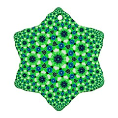 Green Flower Rosette Snowflake Ornament (Two Sides)