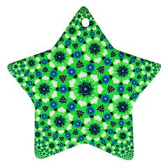 Green Flower Rosette Star Ornament (Two Sides)