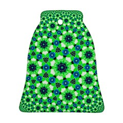 Green Flower Rosette Bell Ornament (Two Sides)