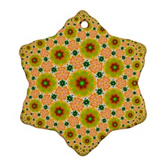 Yellow Flower Rosette Snowflake Ornament (Two Sides)