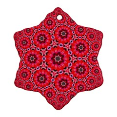 Red Flower Rosette Snowflake Ornament (two Sides)