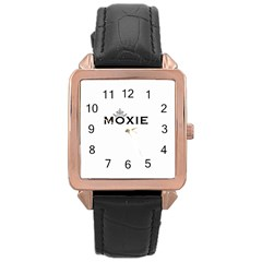 Moxie Logo Rose Gold Leather Watch