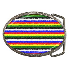 Horizontal Basic Colors Curly Stripes Belt Buckle (Oval)