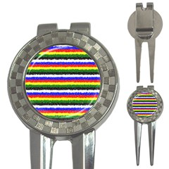 Horizontal Basic Colors Curly Stripes Golf Pitchfork & Ball Marker