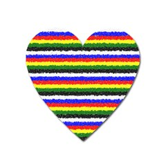 Horizontal Basic Colors Curly Stripes Magnet (heart)