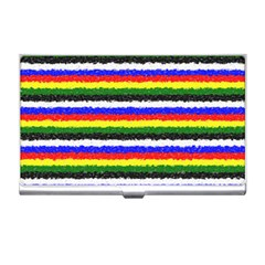 Horizontal Basic Colors Curly Stripes Business Card Holder