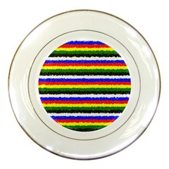 Horizontal Basic Colors Curly Stripes Porcelain Display Plate