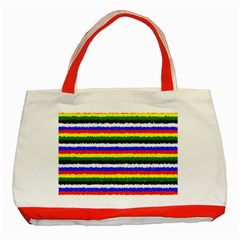 Horizontal Basic Colors Curly Stripes Classic Tote Bag (red)