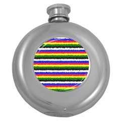 Horizontal Basic Colors Curly Stripes Hip Flask (round)