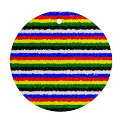 Horizontal Basic Colors Curly Stripes Round Ornament (two Sides)