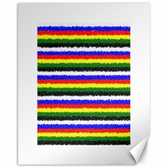 Horizontal Basic Colors Curly Stripes Canvas 16  X 20  (unframed)