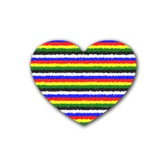 Horizontal Basic Colors Curly Stripes Drink Coasters (Heart)