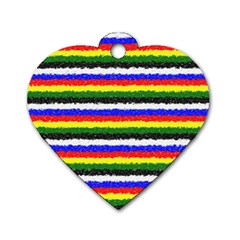 Horizontal Basic Colors Curly Stripes Dog Tag Heart (two Sided)